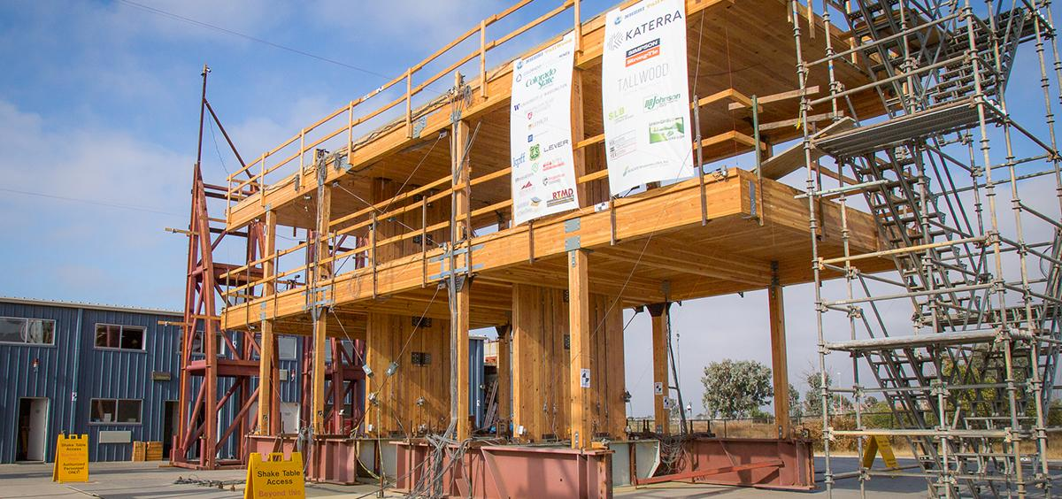 Two-story structure made of cross-laminated timber panels.